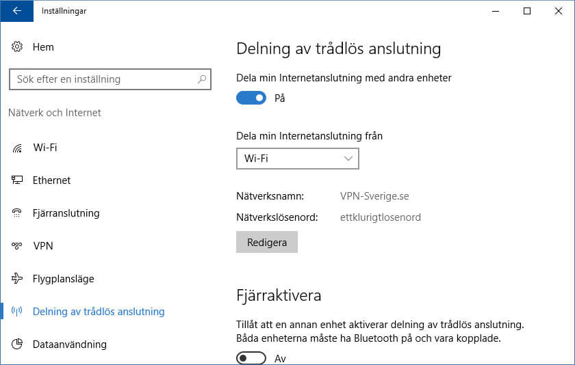 Dela internet i Windows 10